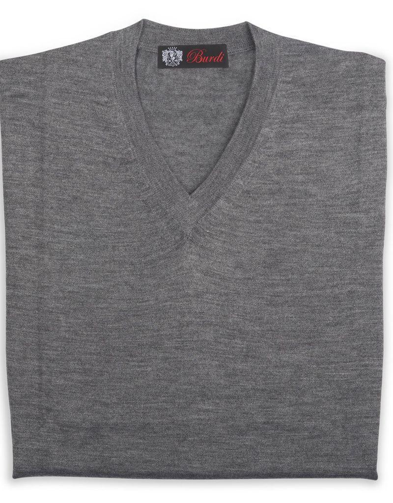 Cashmere / Silk V Neck Sweater, Gray