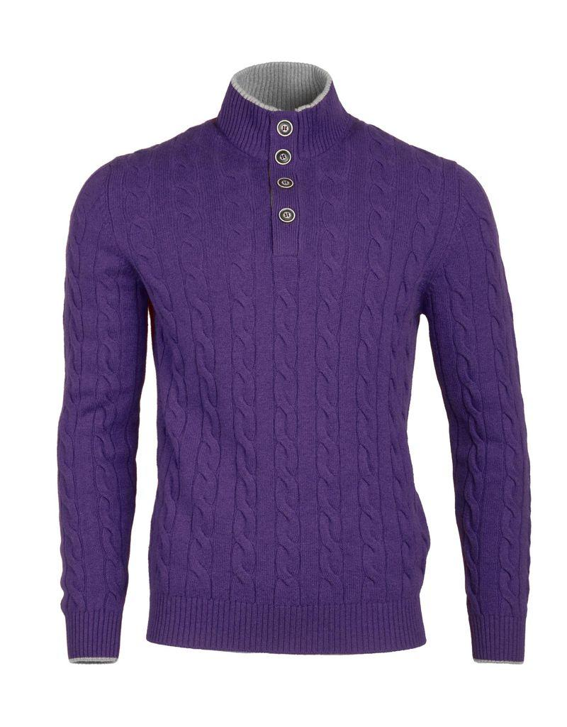 Cable Knit Sweater - Purple