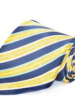 Navy & Gold Stripe Seven Fold Silk Tie