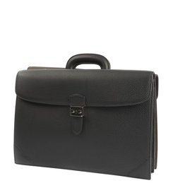 Black & Dark Brown Calfskin Double Sided Briefcase