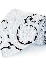Black & Silver Paisley Seven Fold Silk Tie