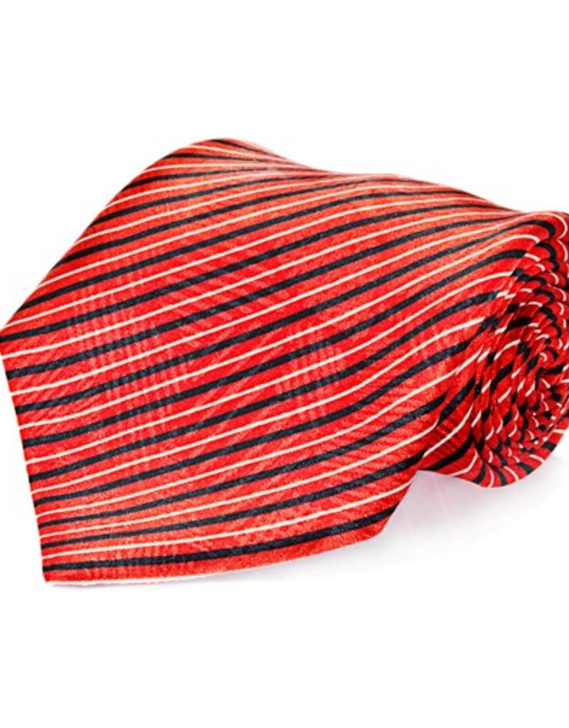 Red & Black Stripe Seven Fold Silk Tie