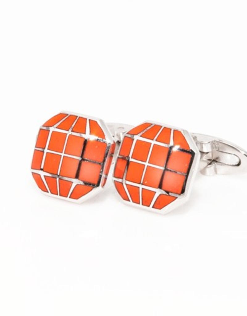 Orange Octagonal Cufflinks