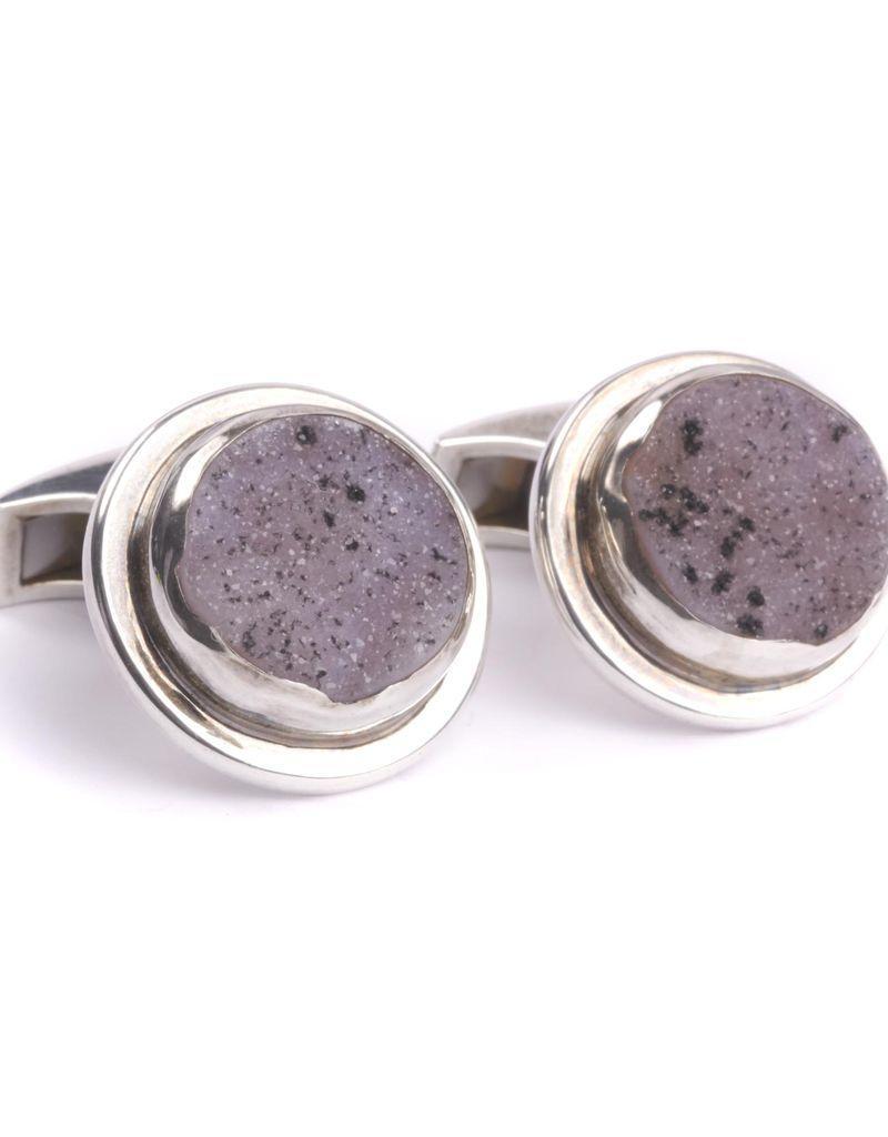 Lilac Speckle Drusy Cufflinks