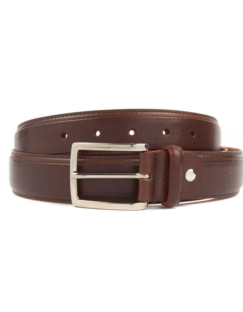 Leather Belt with Red Detailing