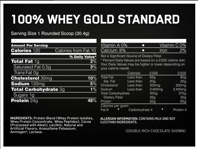 Image result for optimum nutrition gold standard nutrition facts