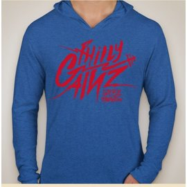 Philly Gainz Next Level Shoodie (Vintage Royal and Red Print)