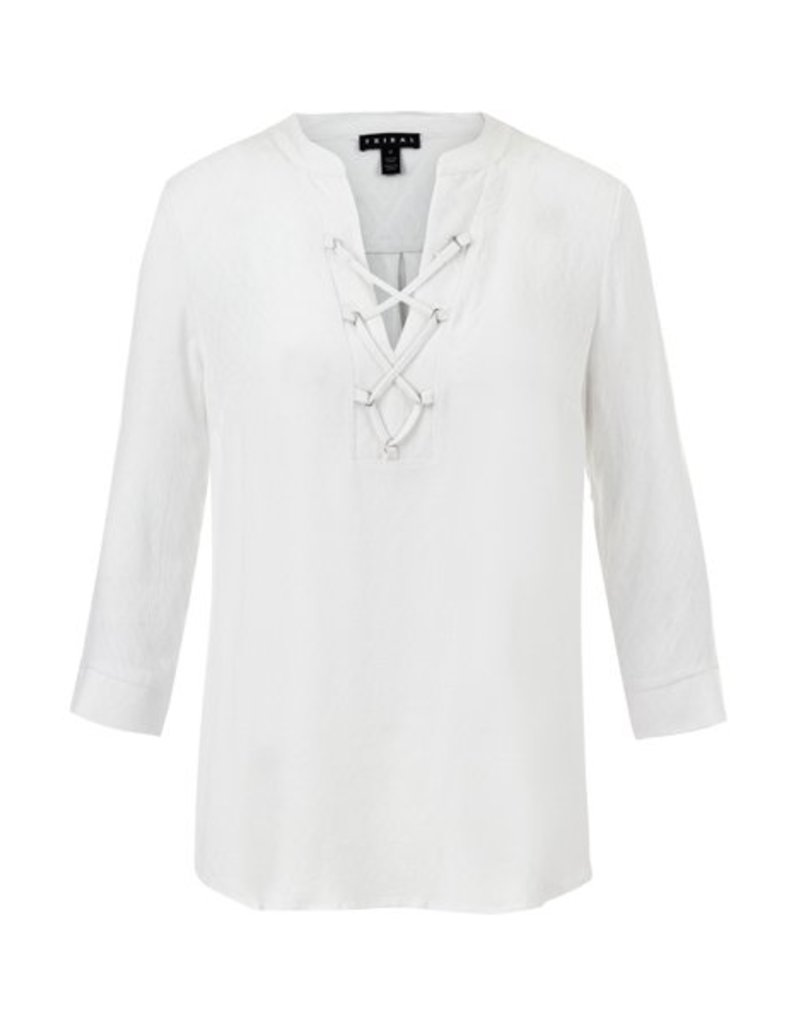 Tribal 3/4 Sleeve Blouse W/Lace Up Placket - SP18