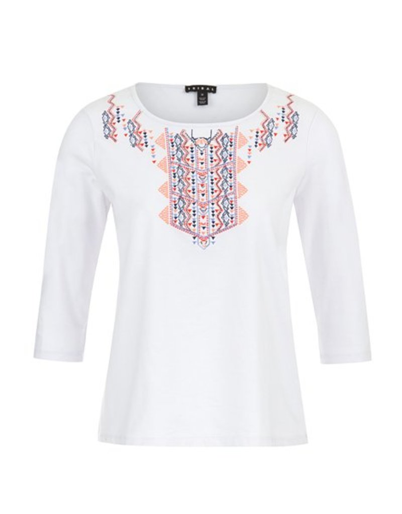 Tribal 3/4 Sleeve Top w/Embroidery - SP18