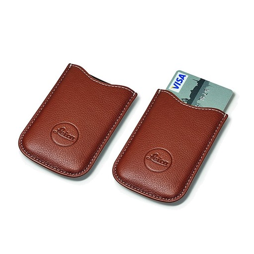 SD & Credit Card Holder Leather Cognac