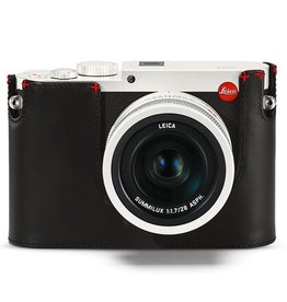 Camera Protector - Leather Black w/ Red Hand Stitch Q (Typ 116)