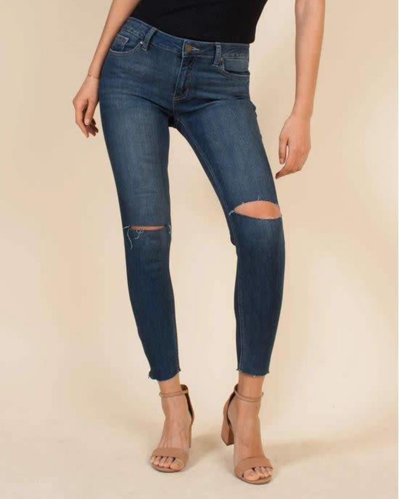 JUST BLACK Mid Rise Skinny w/ Ankle Zipper