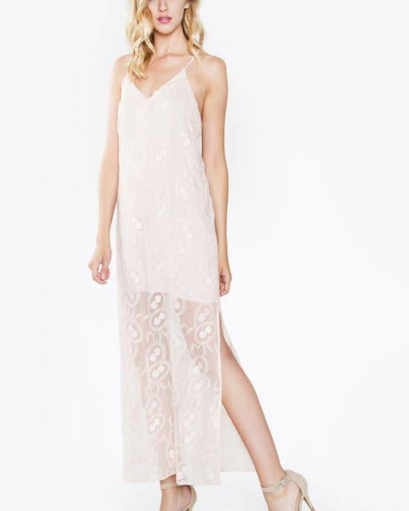 SUGAR + L!PS Odette Blush Maxi Dress