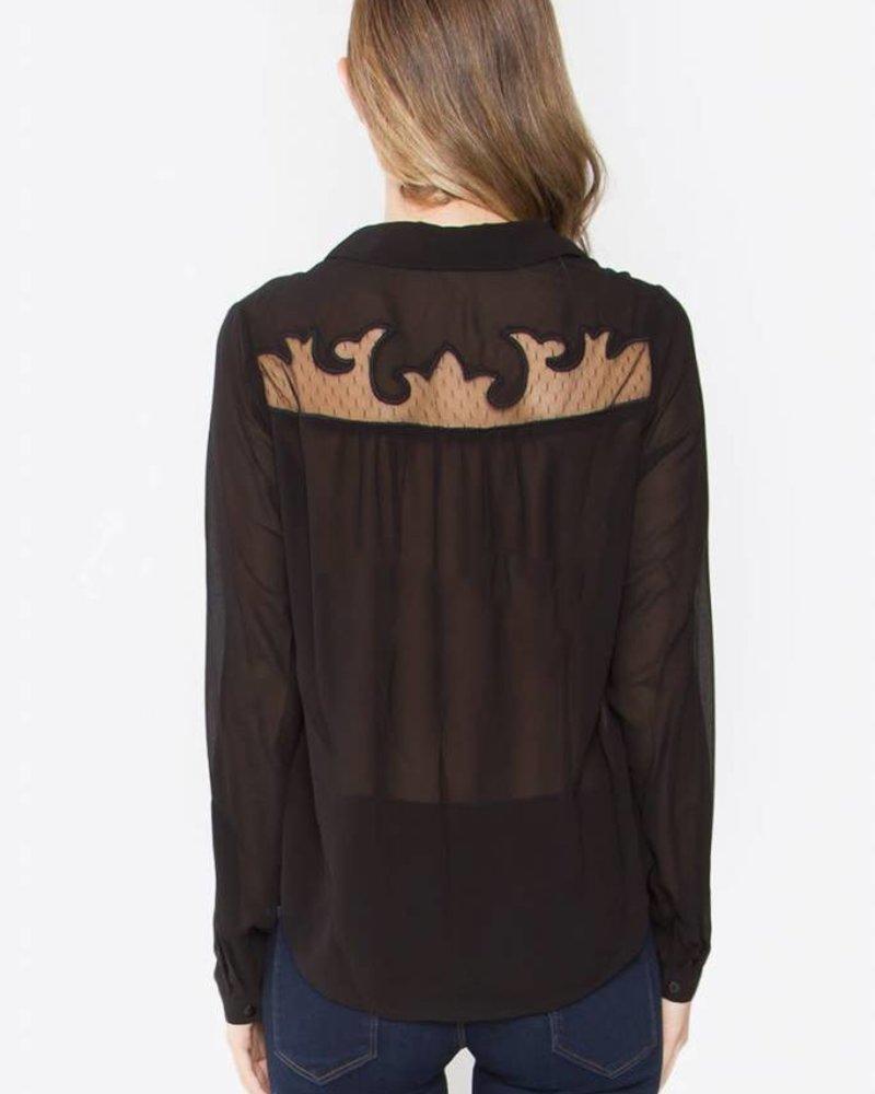 SUGAR + L!PS Lace Detailed Chiffon Shirt