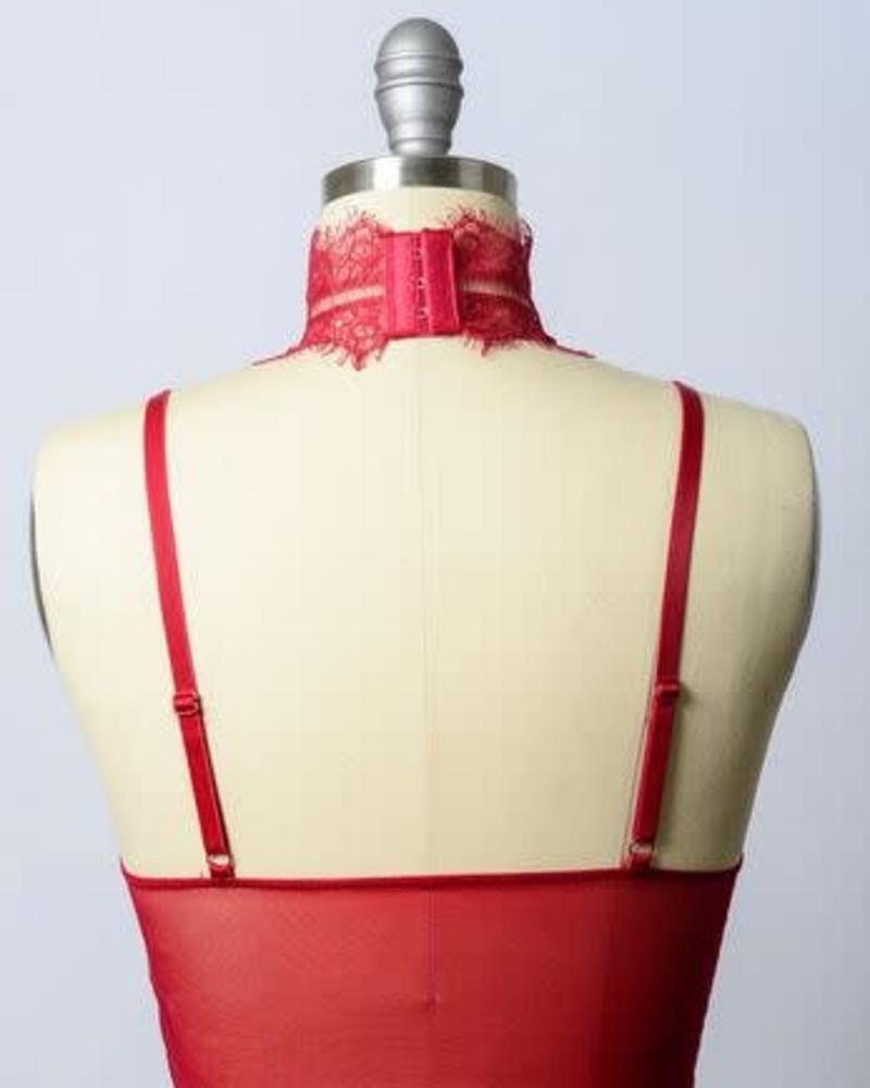 Leto Red High Neck Bralette