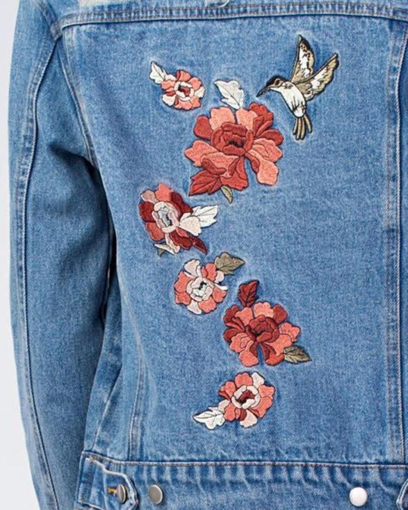 Honey Punch Distressed Denim Jacket / Foral Detailing