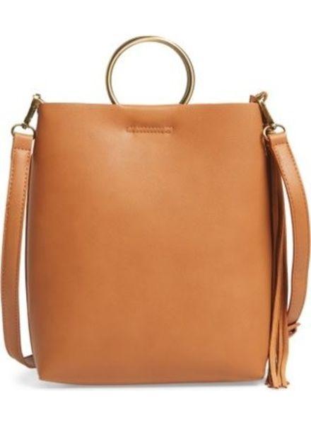 Street Level Tan Shoulder Bag w/ Ring Handle