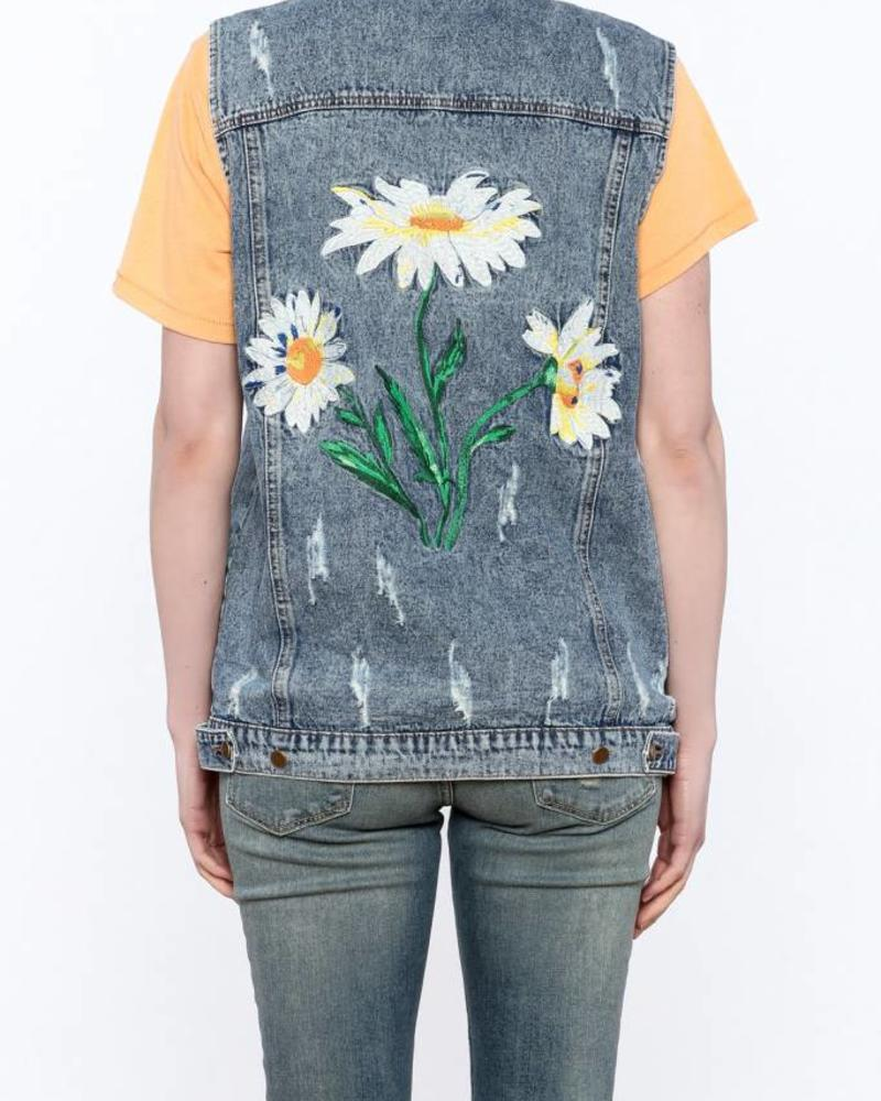 Honey Punch Distressed Vest w/ Floral Embroidery