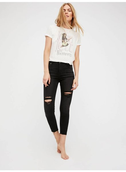 Free People Destroyed Middy-High Waisted Skinny