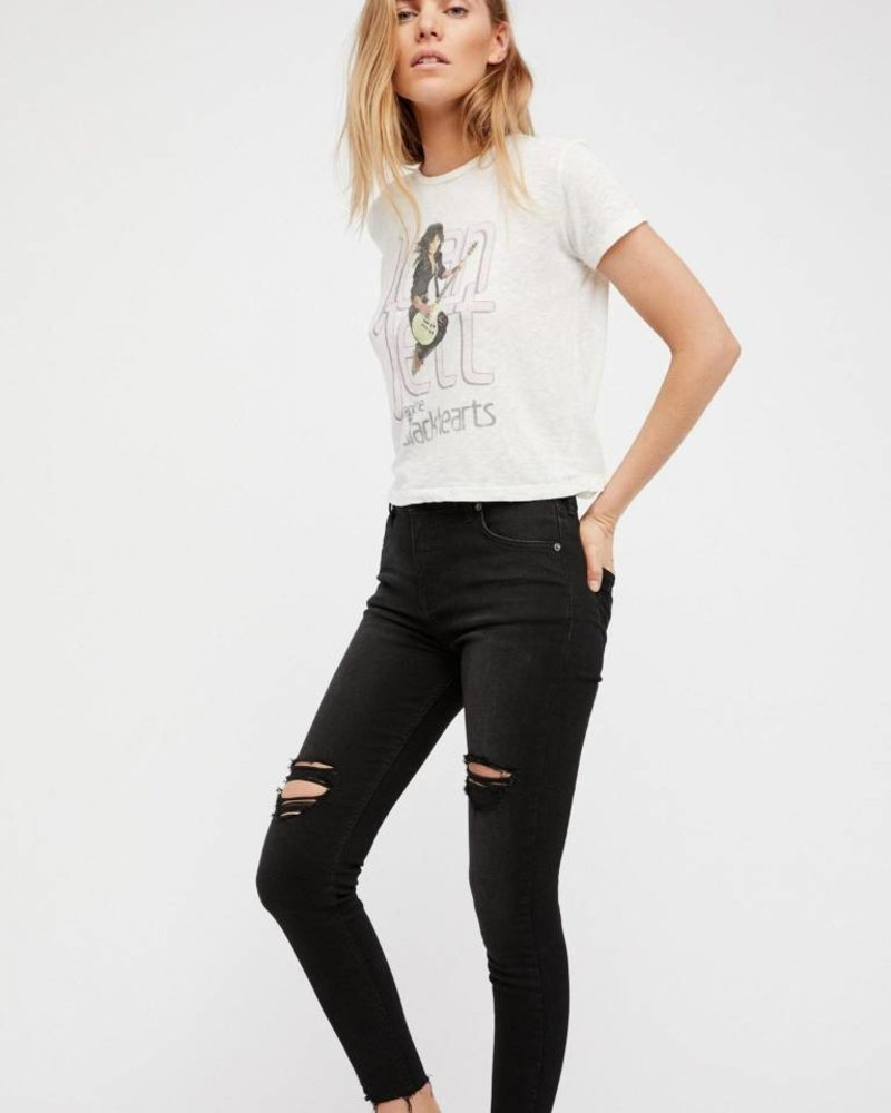 Free People Destroyed Middy/High Waisted Skinny