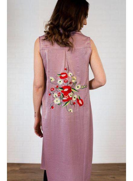 LELIS Silk Vest w/ Embroidery Back Detail