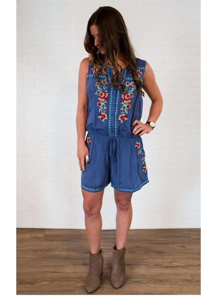 UMGEE Sleeveless Button Up Romper w/ Floral Embroidery