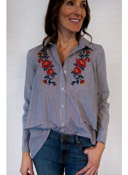 A Calin Pinstripe Blouse w/ Floral Embroidery