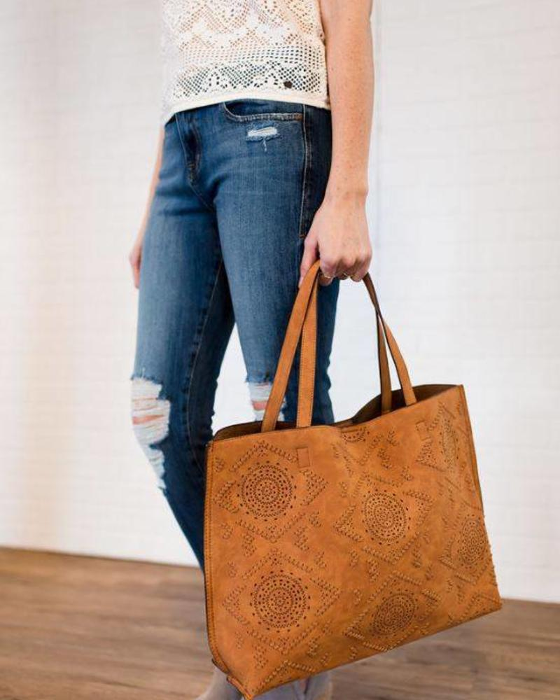 Street Level Brown Laser Cut Tote