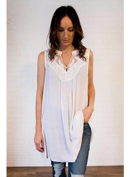 UMGEE Sleeveless Split Neckline Dress w/ Lace Details