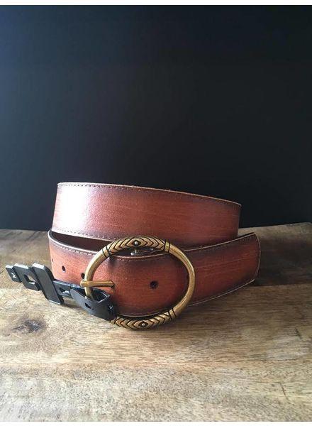 America Distressed Brown Leather Belt