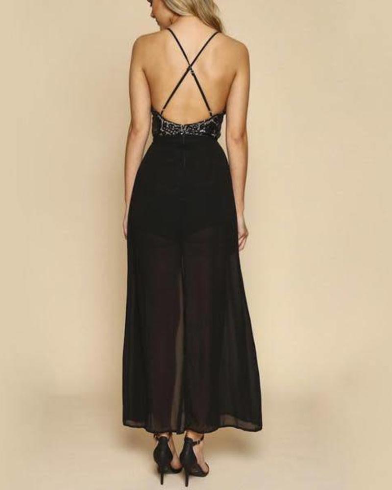 Selfie Black Sequins Romper Dress