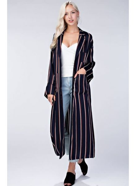 Honey Punch Long Sleeve Striped Kimono