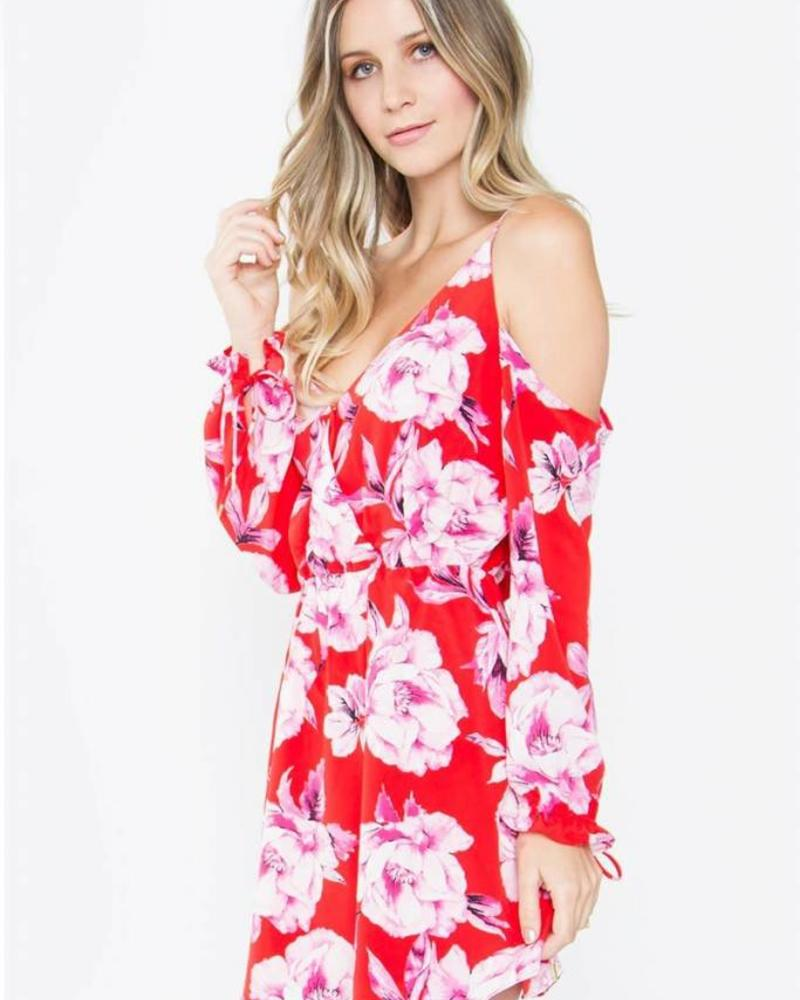 SUGAR + L!PS Linsey Floral Cold Shoulder Dress