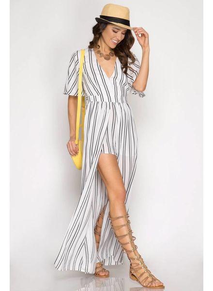 SHE & SKY Half Sleeve Stripe Maxi Romper   White