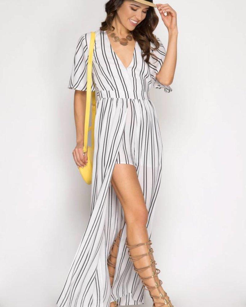 SHE & SKY Half Sleeve Stripe Maxi Romper | White