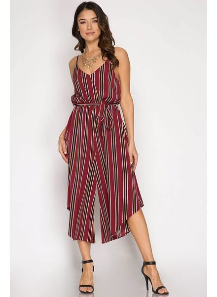 SHE & SKY Cami Striped Jumpsuit Midi