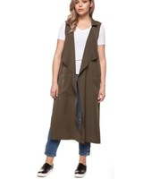 Black Tape/Dex Long Open Vest w/ Chiffron Pleated Detailing | Olive