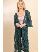 UMGEE Floral Embroidered Long Body Kimono | Teal