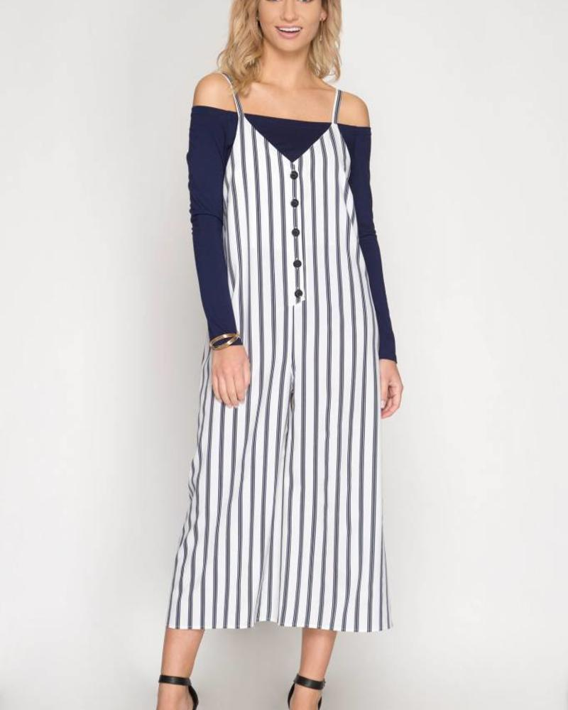 SHE & SKY Sleeveless Striped Button Down Jumpsuit