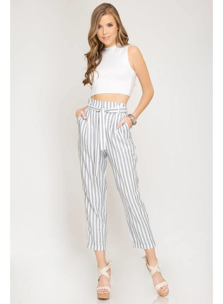 SHE & SKY Striped Women Pants w/ Waist Tie