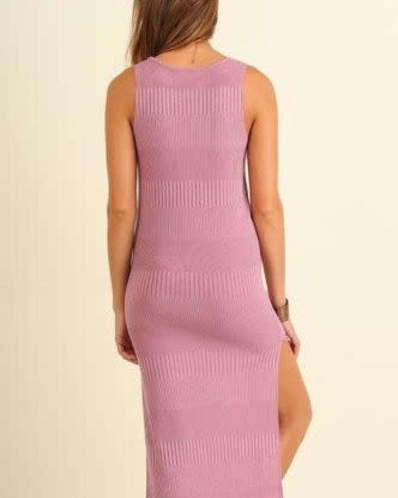 UMGEE Ribbed Dusty Pink Knit Dress