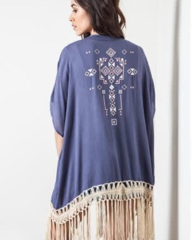 UMGEE Fringe Kimono / Color: Dolphine