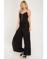 SHE & SKY Woven Cami Jumpsuit | Black