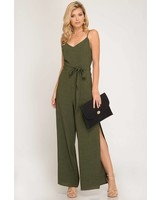 SHE & SKY Woven Cami Jumpsuit | Olive
