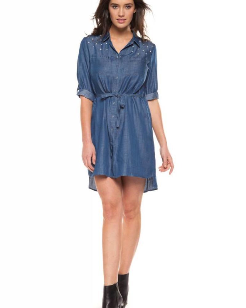 Black Tape/Dex Dress Blouse w/ Pearl Detailing