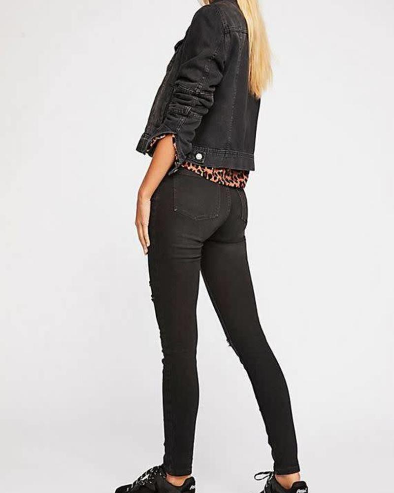 Free People Destroyed Long and Black Jean