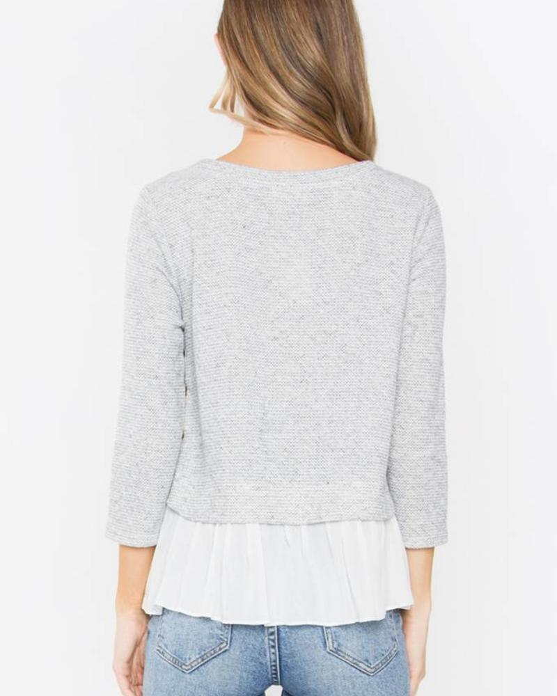 SUGAR + L!PS Heathered Sweater Blouse