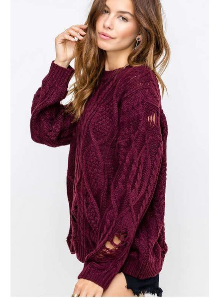 LUSH Distressed Burgandy Kylie Sweater