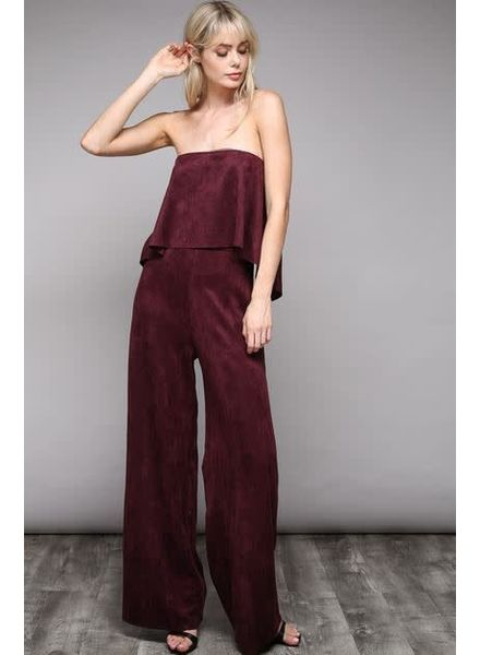 DO+BE Faux Suede Tube Jumpsuit