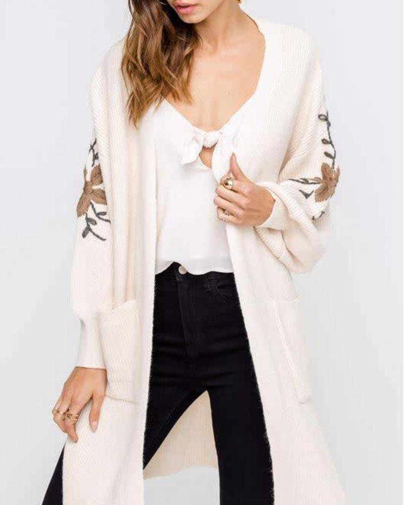 LUSH Darling Floral Embroidered Balloon Sleeve Cardigan